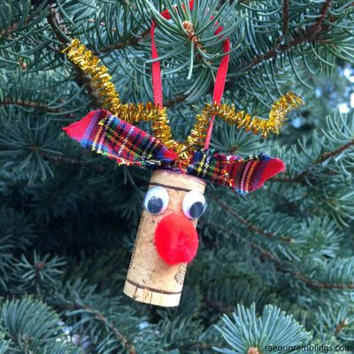 Rudolph Reindeer Wine Cork Craft Ornament