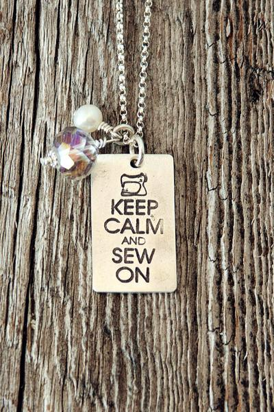 Keep Calm and Sew On Necklace
