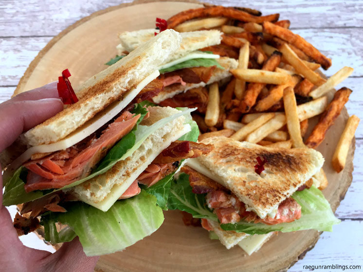 Delicious take on your normal sandwich. Salmon club sandwich recipe