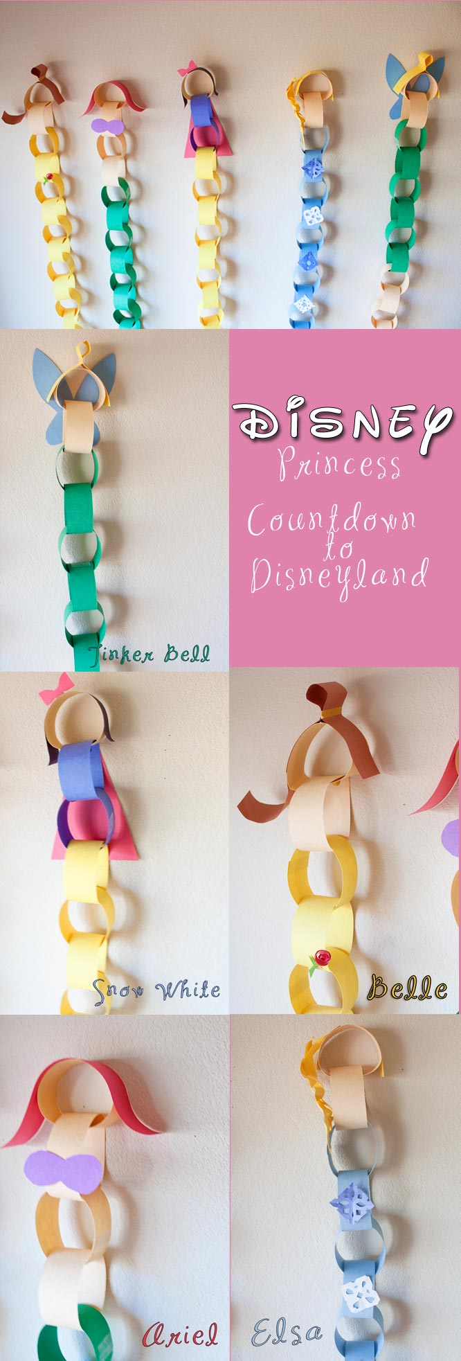 Disney Princess Countdown chain. Great kids craft for Disneyland trips