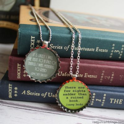 Lemony Snicket Quotes DIY Bottle Cap Necklaces
