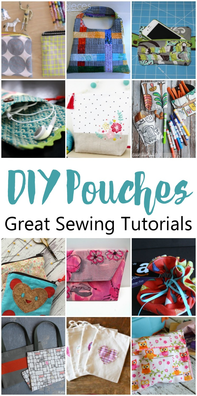 Lots of awesome DIY pouch tutorials great sewing projects