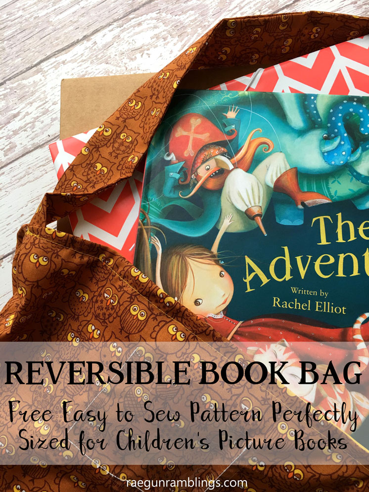 children's book bag tutorial with free pattern. Big enough tote for picture books. Easy sewing project.
