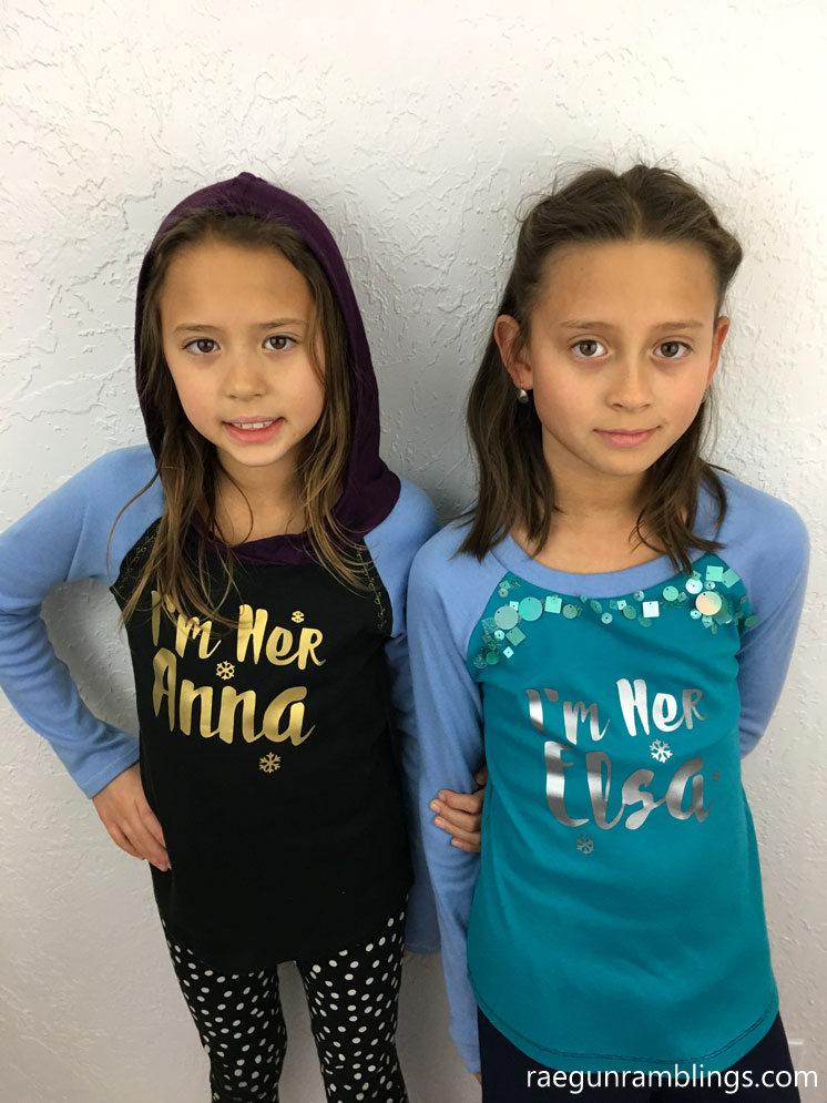DIY Elsa and Anna Frozen shirts