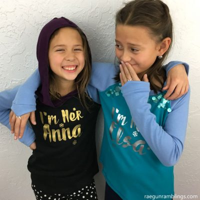 DIY Elsa and Anna Sister Shirts with Cricut