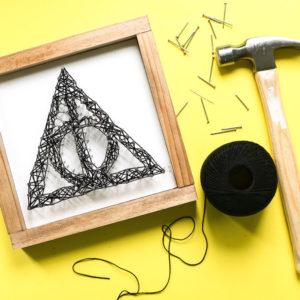 Deathly Hallows String Art-DIY Harry Potter craft