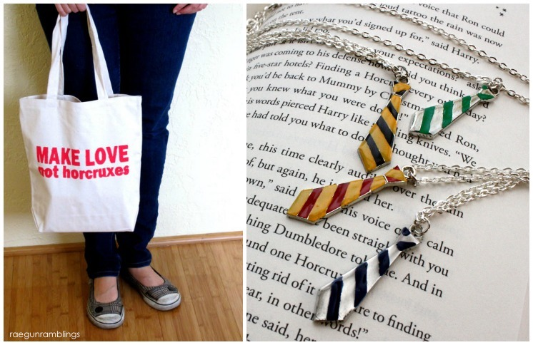 Harry Potter swag fun Make Love Not Horcruxes bag and Hogwarts House necklaces