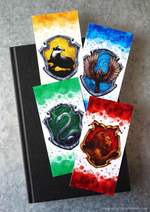 image about Harry Potter Printable Bookmarks named Printable Harry Potter Hogwarts-Household-Bookmarks - Rae Gun