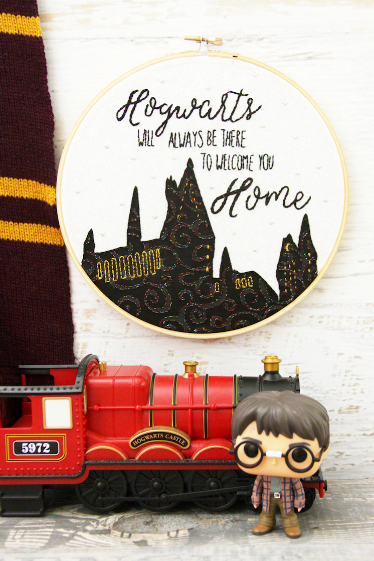Hogwarts will be there to Welcome you Home Embroidery Hoop Art Great Harry Potter sewing project