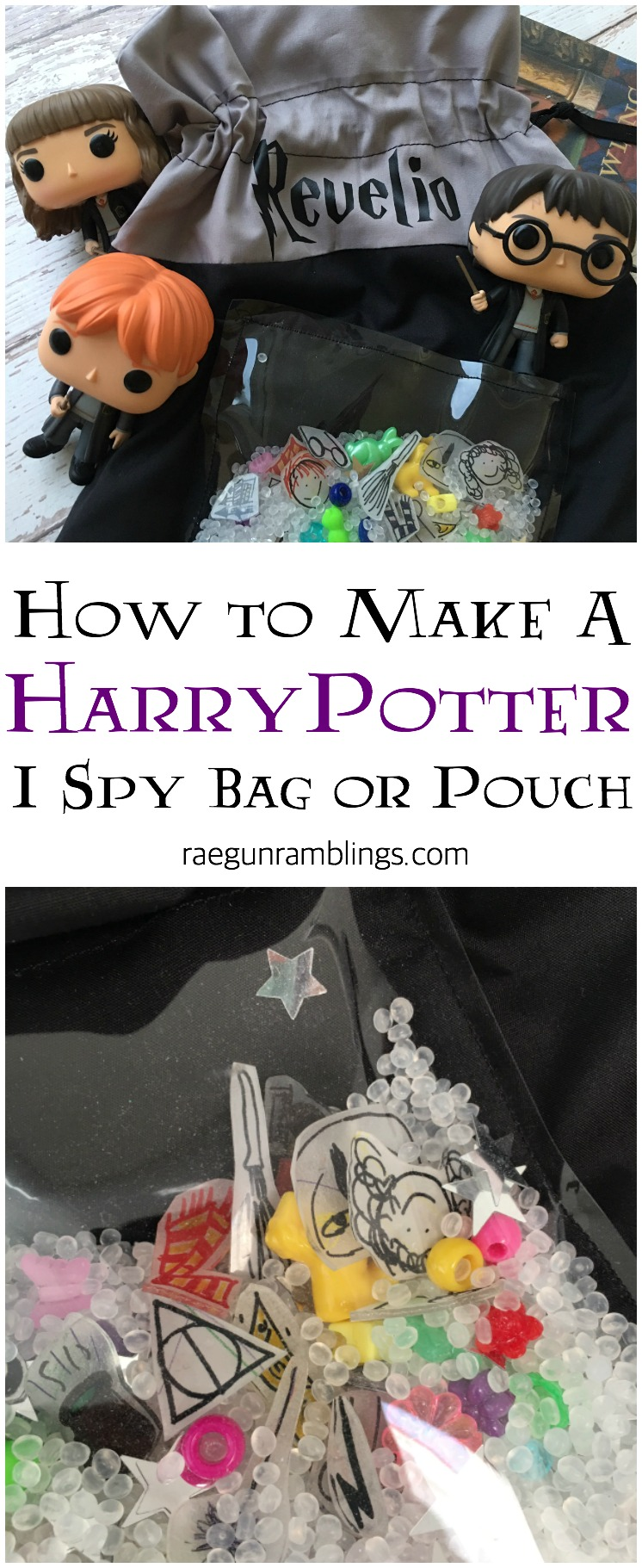 Love this idea make an I Spy bag with Harry potter items. Full simple sewing tutorial