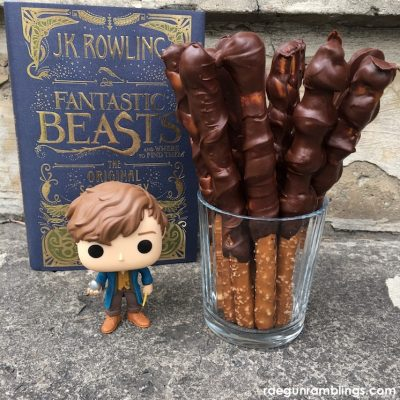 Caramel Chocolate Pretzel Wands and Fantastic Beasts Party
