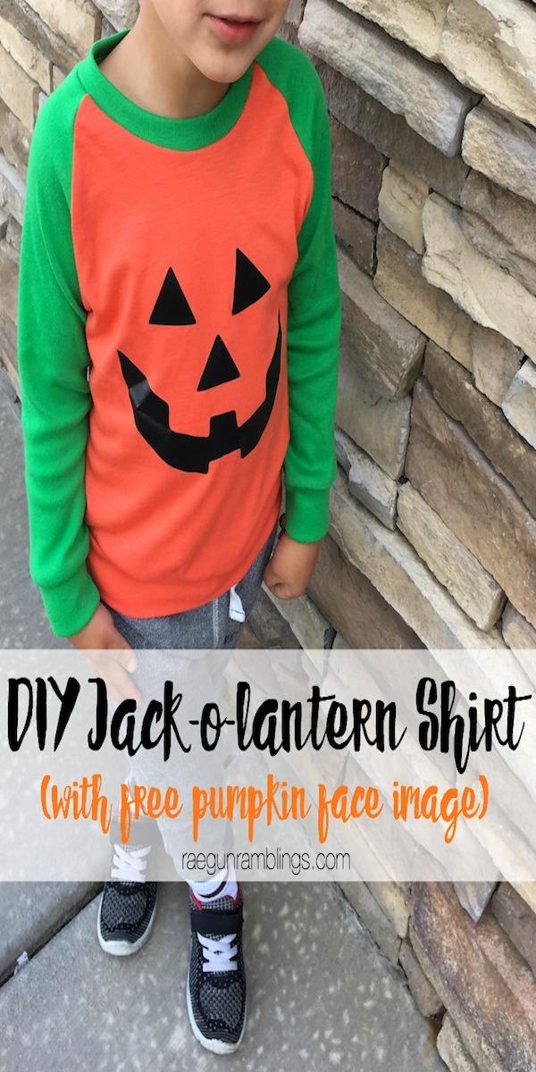 boy in jack-o-lantern shirt