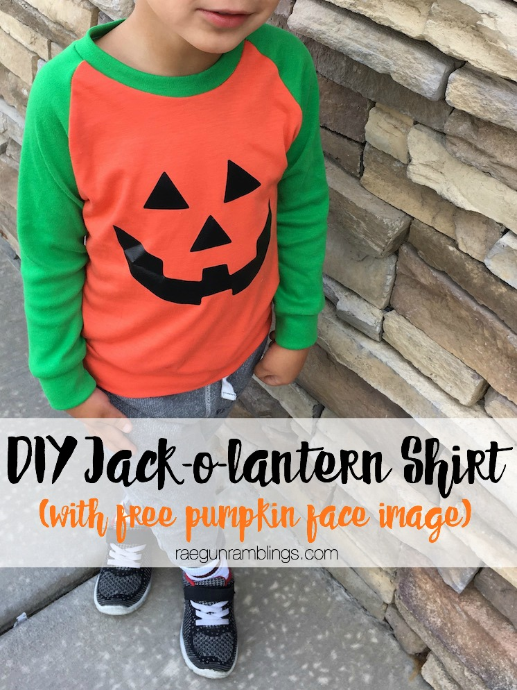 Pumpkin shirt tutorial with free jack-o-lantern face image great for costumes