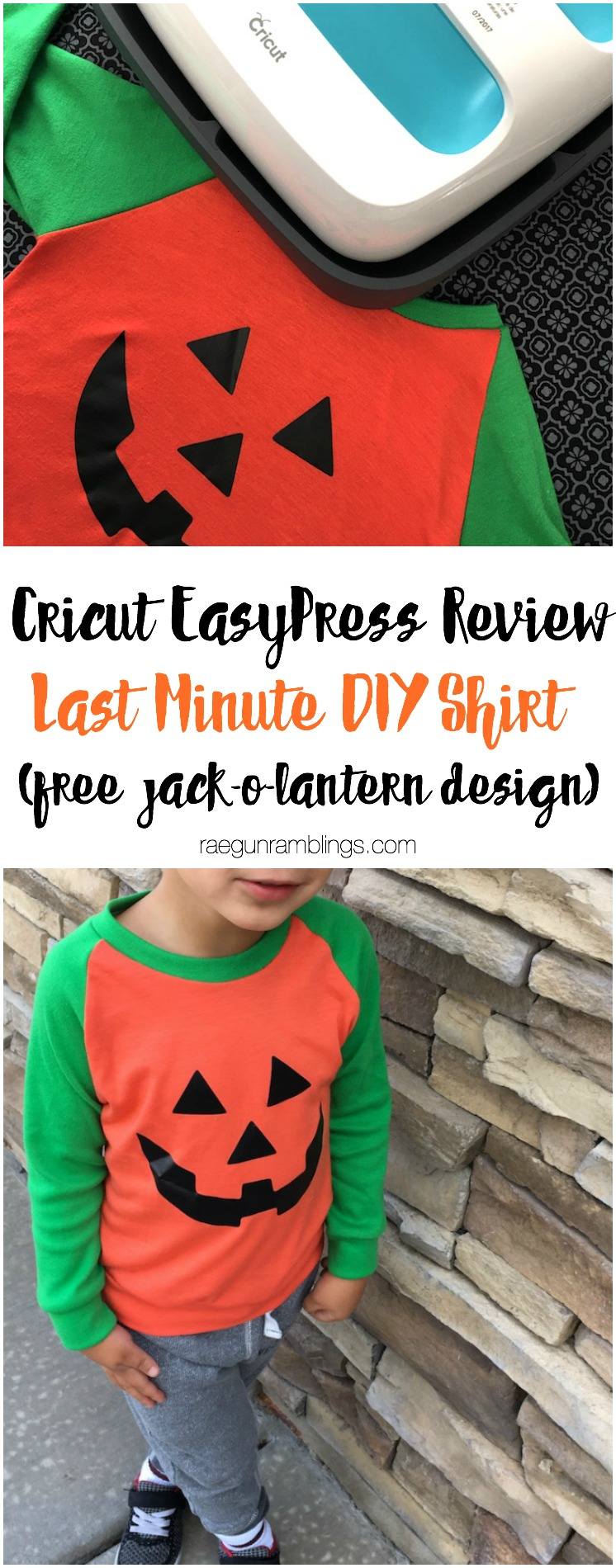 great free jackolantern design plus easy last minute Halloween costume and cricut easypress heat press review