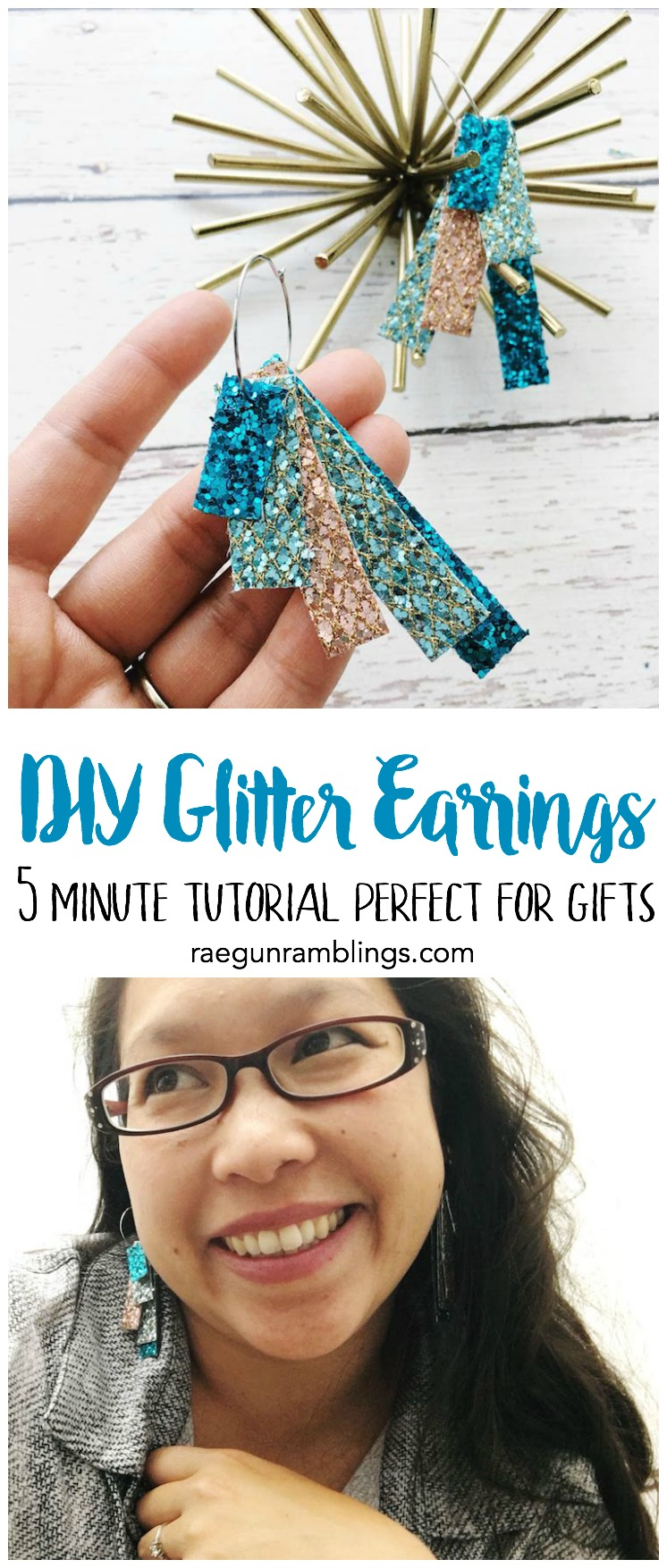love this idea for quick teacher gifts. Great 5 minute DIY glitter earrings tutorial