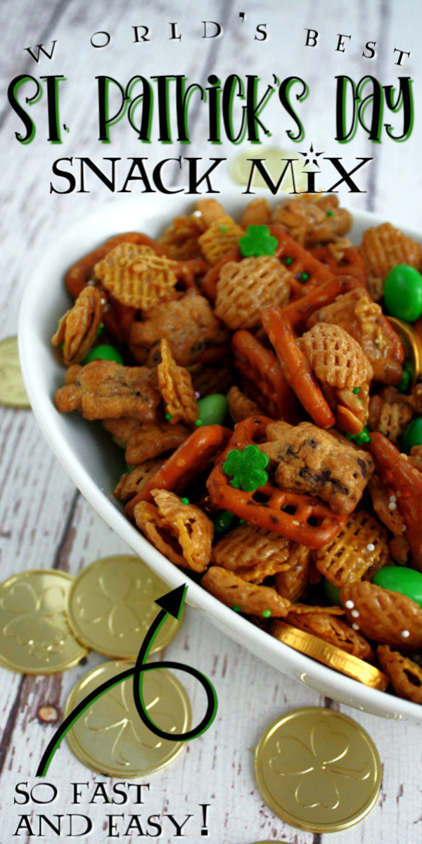 Hands down our favorite St. Patrick's Day Snack Mix such a great chex mix combo perfect for making ahead. via @raegun