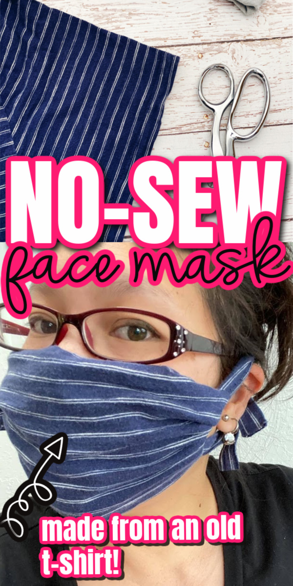 t shirt and woman in cloth face mask