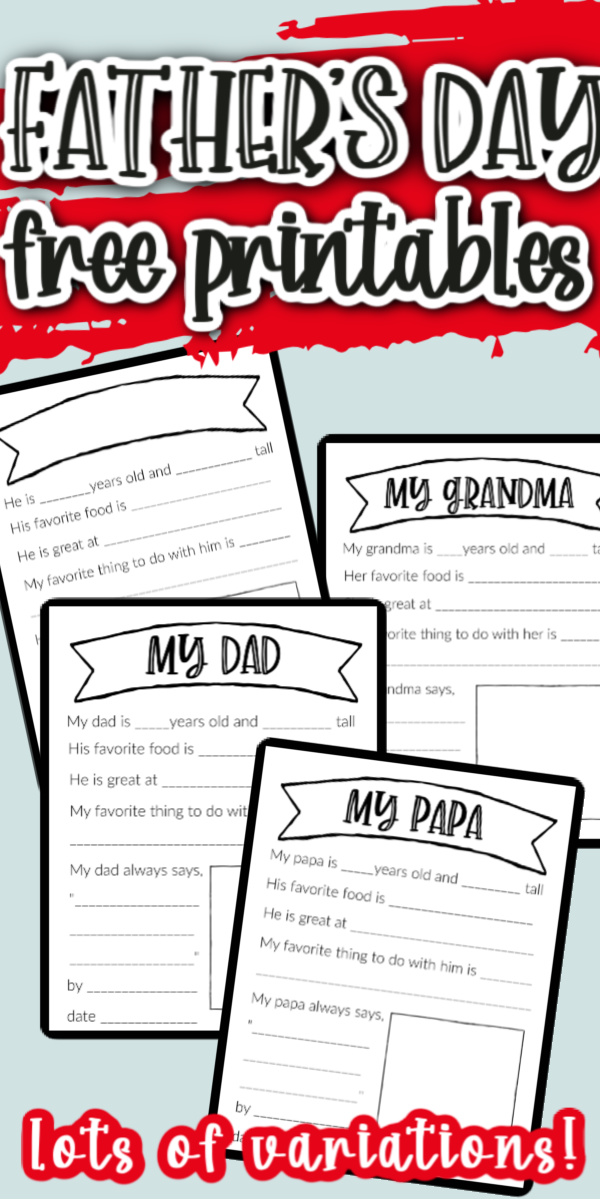 Great fill in the blank free Father's Day printables for dad, grandma, step dad, uncle and more! via @raegun