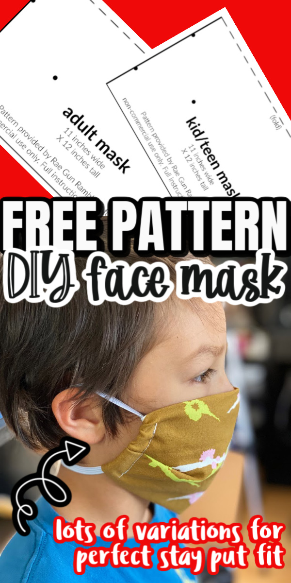 Our family's favorite kids face mask. Fast and simple sewing tutorial with free pattern with variations perfect for active or sensitive kids. via @raegun