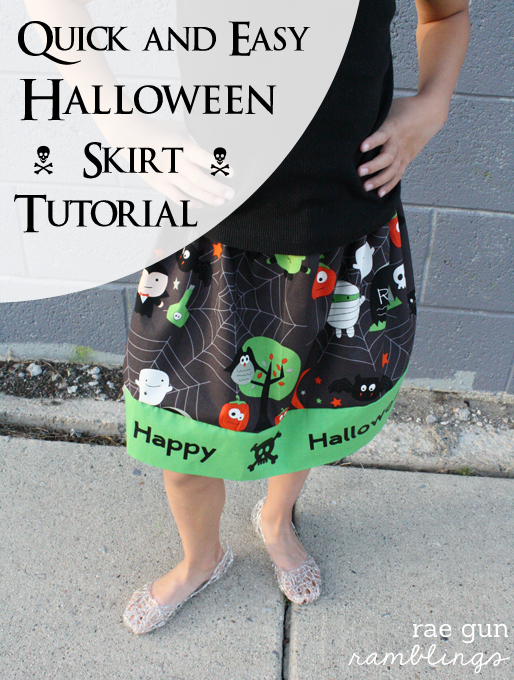Halloween Skirt Tutorial great for beginners and how to use Iron-on Vinyl - Rae Gun Ramblings #diy #craft #halloween #cricut #sewing
