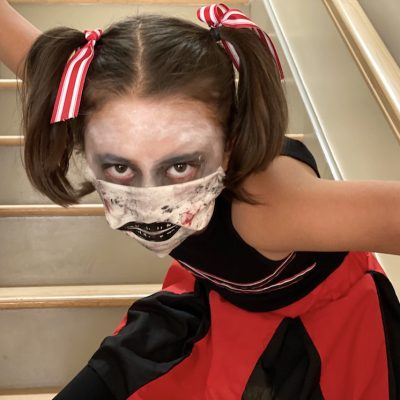 Zombie Cheerleader Costume and Face Mask
