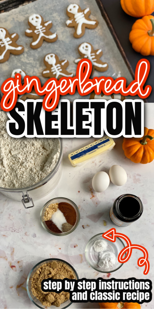 gingerbread skeleton cookies and ingredients