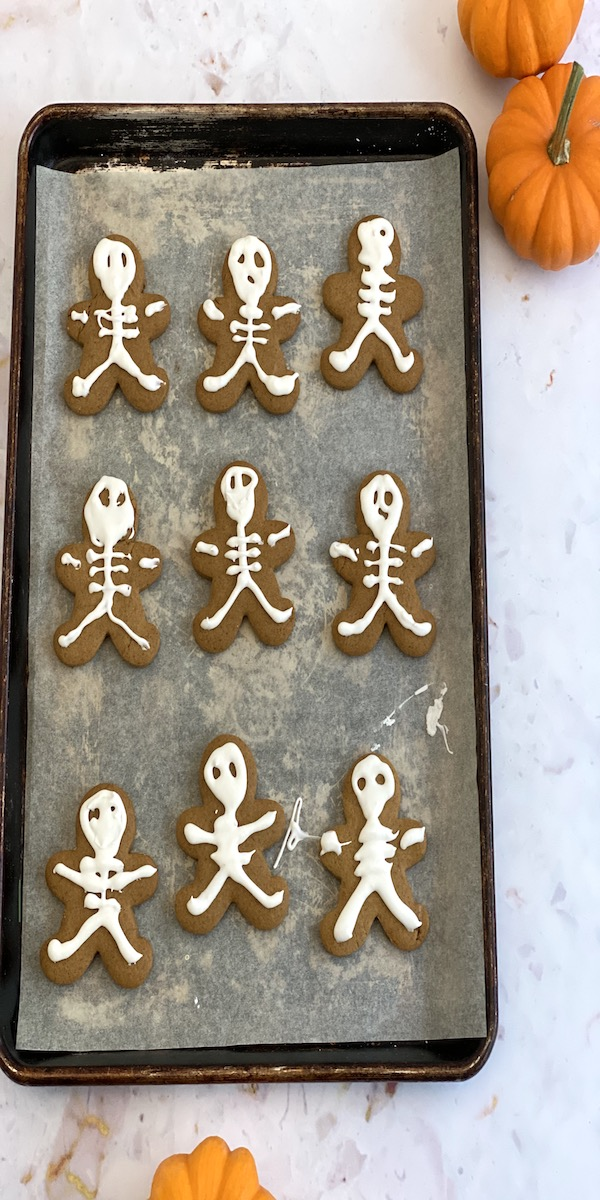 pan of gingerbread skeleton cookies