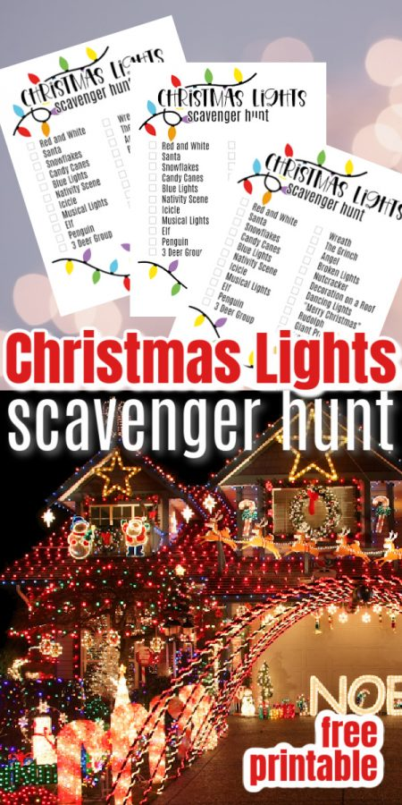 Christmas Scavenger hunt printable and decorated house