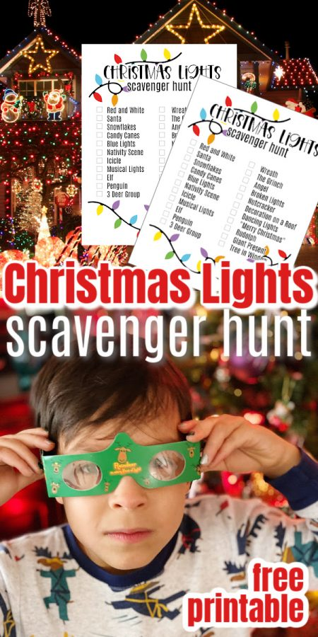 Christmas Scavenger Hunt Printable pages and kid in 3d Christmas Light glasses
