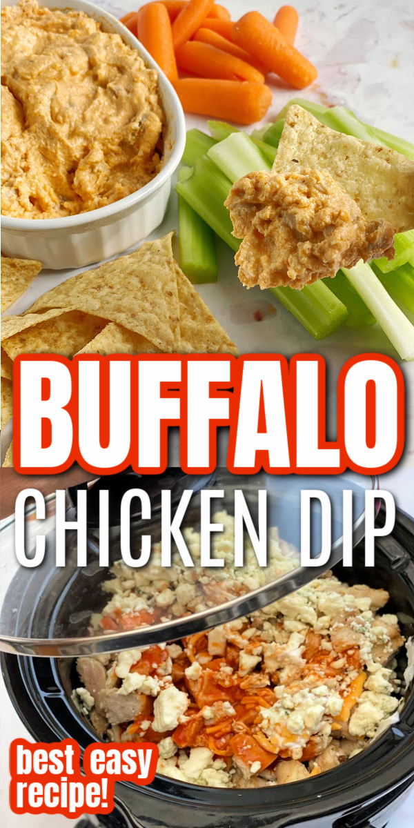 World's Best Crock Pot Buffalo Chicken Dip Recipe. Favorite party food, just 7 ingredients and so easy. Love that it also has Instant Pot, oven, and stove instructions.