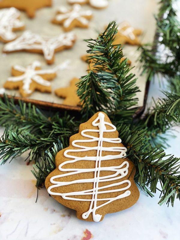christmas tree cookie and fake tree