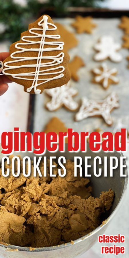 Tree gingerbread cookie with icing and bowl of dough